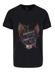 Tmavomodré tričko s potlačou orla Lindbergh