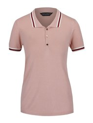 Světle růžové polo tričko s knoflíky ve zlaté barvě Dorothy Perkins