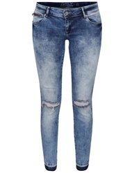 Světle modré vyšisované džíny s dírami na kolenou ONLY Coral