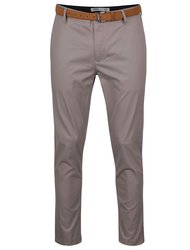 Sivé slim chino nohavice s opaskom Burton Menswear London