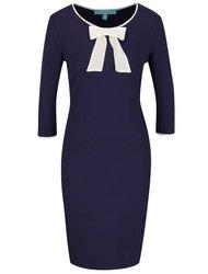 Modré šaty s krémovou mašlí Fever London Michelle