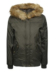 Khaki bunda s umělým kožíškem Dorothy Perkins
