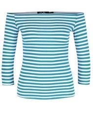 Tyrkysové pruhované tričko s odhalenými ramenami Dolly & Dotty Gloria