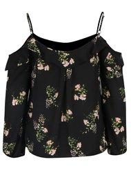 Černá květovaná halenka s odhalenými rameny Dorothy Perkins