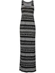 Rochie lungă negru & crem VERO MODA Mussi cu model geometric