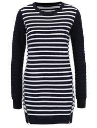 Bielo-modrý pruhovaný sveter s ozdobnými zipsami Dorothy Perkins