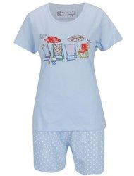Pijama albastru deschis M&Co din bumbac cu print și model cu buline