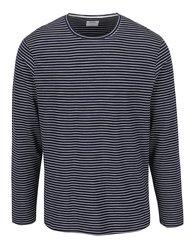 Modré pruhované triko s dlouhým rukávem Burton Menswear London