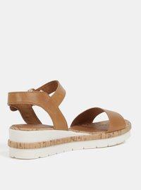 Hnědé kožené sandály na klínku Tamaris - 2
