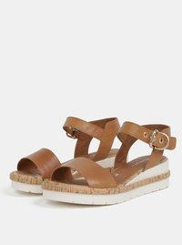 Hnědé kožené sandály na klínku Tamaris - 3