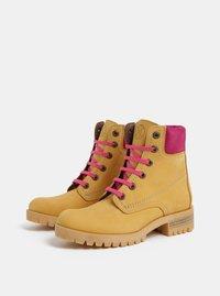 Růžovo-hnědé kožené kotníkové boty se semišovými detaily OJJU - 3