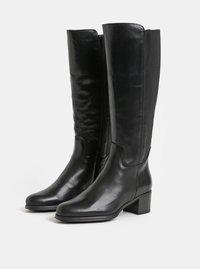 Černé kožené kozačky na širokém podpatku OJJU - 3