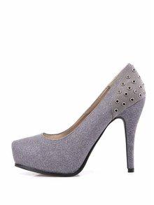 Pantofi gri cu aplicații din pietre decorative de la Victoria Delef
