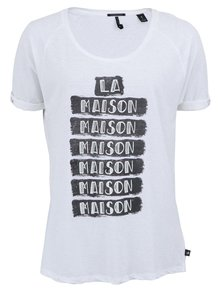 Tricou Maison Scotch alb inscripționat
