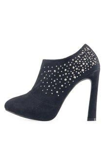 Čierne sexy topánky Victoria Delef s kamienkami