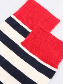 Červeno-modro-bílé pruhované unisex ponožky v trikoloře Happy Socks Stripe
