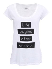 Bílé dámské tričko ZOOT Original Life begins after coffee