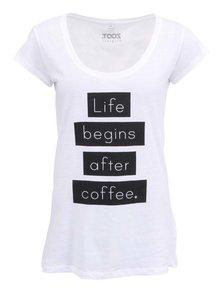 Biele dámske tričko ZOOT Original Life begins after coffee