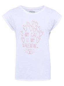 Biele dámske tričko ZOOT Originál My Cat Is My Valentine