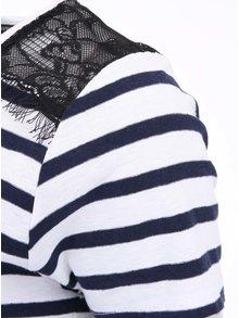 Modro-biele pruhované tričko s čiernou čipkou Scotch & Soda