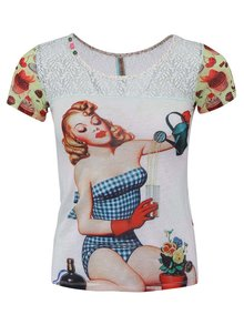 Top alb Culito from Spain cu imprimeu pin-up girl retro