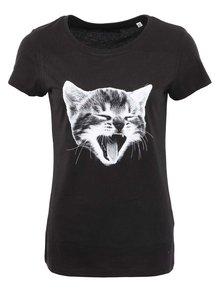 Tricou negru din bumbac organic cu print pisica pentru femei - ZOOT Originál Čáu