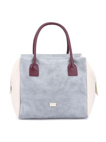 Krémovo-sivá veľká kabelka s fialovými uškami OJJU