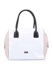 Béžovo-biela veľká kabelka s čiernymi ušami OJJU