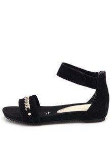 Černé kožené kotníkové sandálky Tamaris