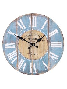 Modré dřevěné hodiny Dakls Café de Lagape
