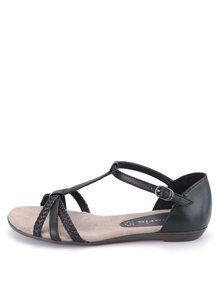 Černé kožené páskové sandálky Tamaris