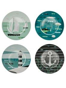 Porcelánová súprava štyroch farebných tanierov Magpie AHOY! Side