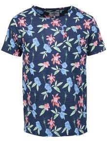 Modré pánske tričko s kvetinovou potlačou Bellfield Geneva