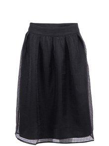 Černá vzorovaná midi sukně s šifonem VERO MODA Grid