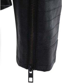 Čierna koženková bunda s vreckami ONLY Biker