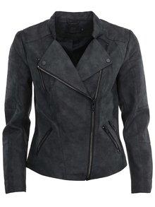 Jachetă gri închis Only Biker  din piele sintetică