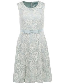 Mentolové krajkované šaty se stuhou Fever London Atrani
