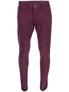 Pantaloni slim fit bej Jack & Jones Glenn - Vișiniu