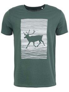 Pánské triko ZOOT Originál Jelen Wapiti v zelené barvě