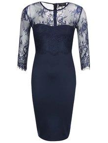Tmavomodré priliehavé šaty s čipkou AX Paris