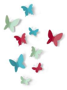 Set deviatich farebných motýlikov na stenu Umbra Mariposa