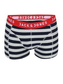 Boxeri Yarndyed Block cu dungi gri și albastre de la Jack & Jones