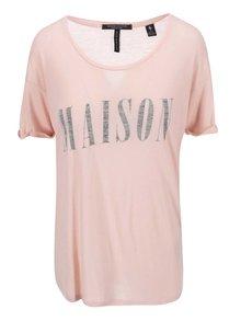 Vínové dámské tričko s potiskem Maison Scotch