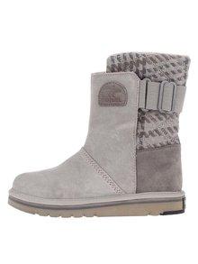 Sivé dámske kožené zimné topánky SOREL The Campus