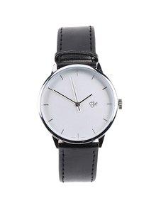 Unisex hodinky ve stříbrné barvě s černým koženkovým páskem CHPO Khorshid Silver