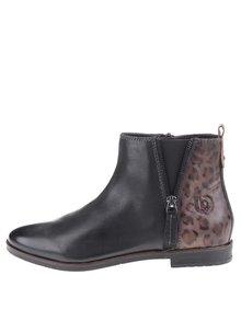 Pantofi de damă până la gleznă cu imprimeu leopard Bugatti Faith - negru