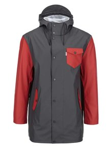 Červeno-sivá nepremokavá bunda s kapucňou Ben Sherman