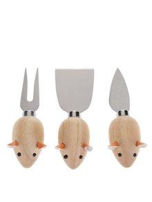 Set de trei cuțite de brânză în formă de șoricel Kikkerland