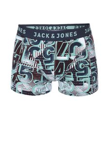 Boxeri albaștri cu imprimeu verde Jack & Jones Logo