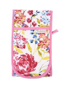 Mănuși de bucătărie alb & roz Cooksmart Floral Romance din bumbac cu model floral